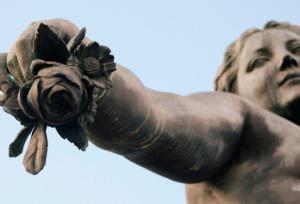 A monumental bronze sculpture on the Place de la Nation shows a surprisingly softer side