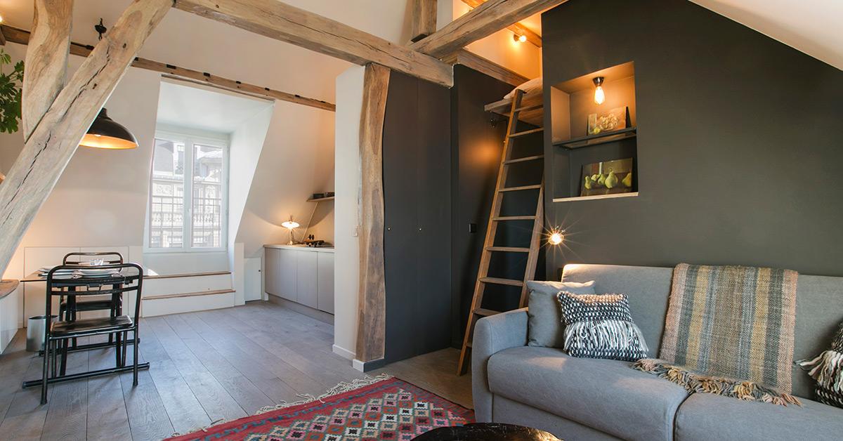 Studio cosy sous les toits paris les conseils de for Meuble un petit appartement