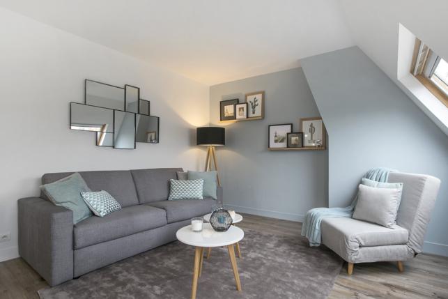 appartements meubl s sous les toits parisiens au charme. Black Bedroom Furniture Sets. Home Design Ideas