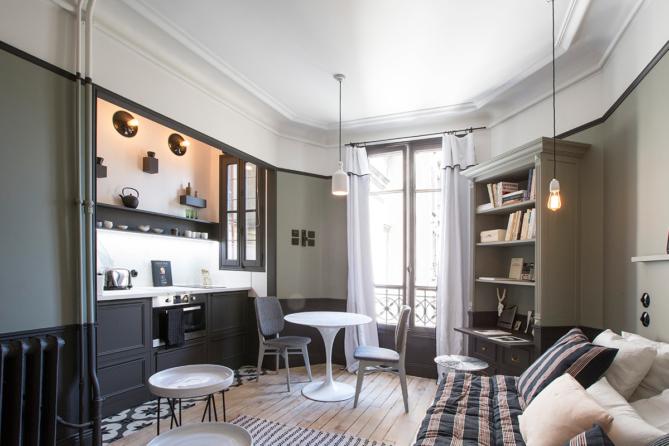comment optimiser l 39 espace de son studio parisien astuces de pros. Black Bedroom Furniture Sets. Home Design Ideas