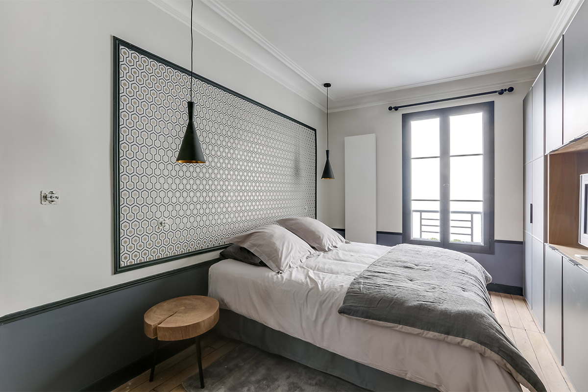Furnished Paris apartment master bedroom wallpaper Cole & Son