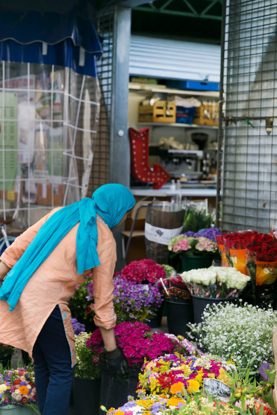 A florist at Enfants Rouges market
