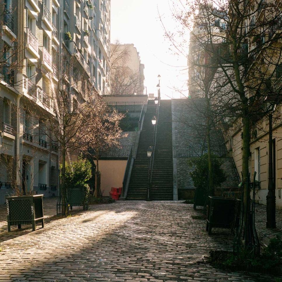 stairs walk street Montmartre