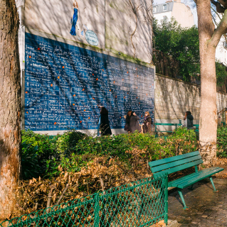 Place de Abbesses Paris Mur des Je t'Aime