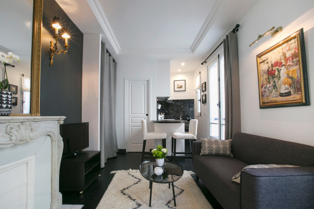 black and white living interior Paris