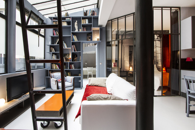loft Paris chambre salon