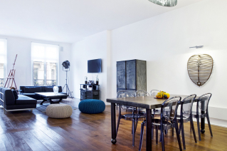 Salon appartement style industriel Paris