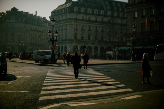 street buildings Paris avenues people