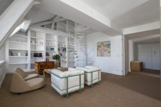 paris rental living room bookshelf sofa