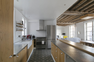 open-plan kitchen rent a furnished apartment in Paris