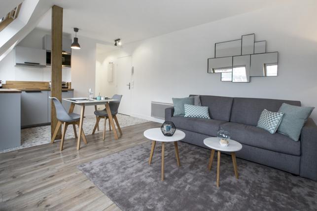 studio for rent Paris double sofa bed