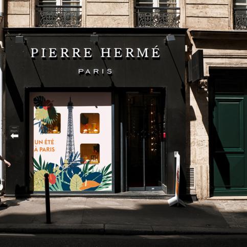 French pastry chef's café Pierre Hermé. The trademark shop in Saint-Germain-des-Prés