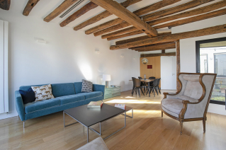 Decoration furnished apartment wooden beams Seine Paris