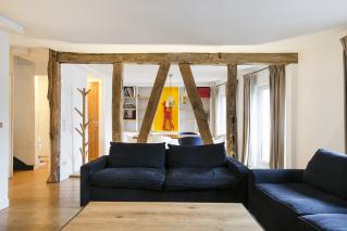two-bedroom rental in Paris with exposed beams