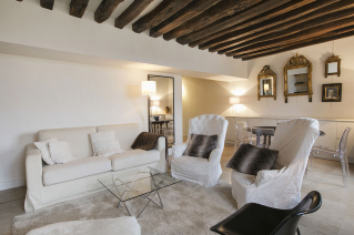 furnished flat Paris living room with exposed beams