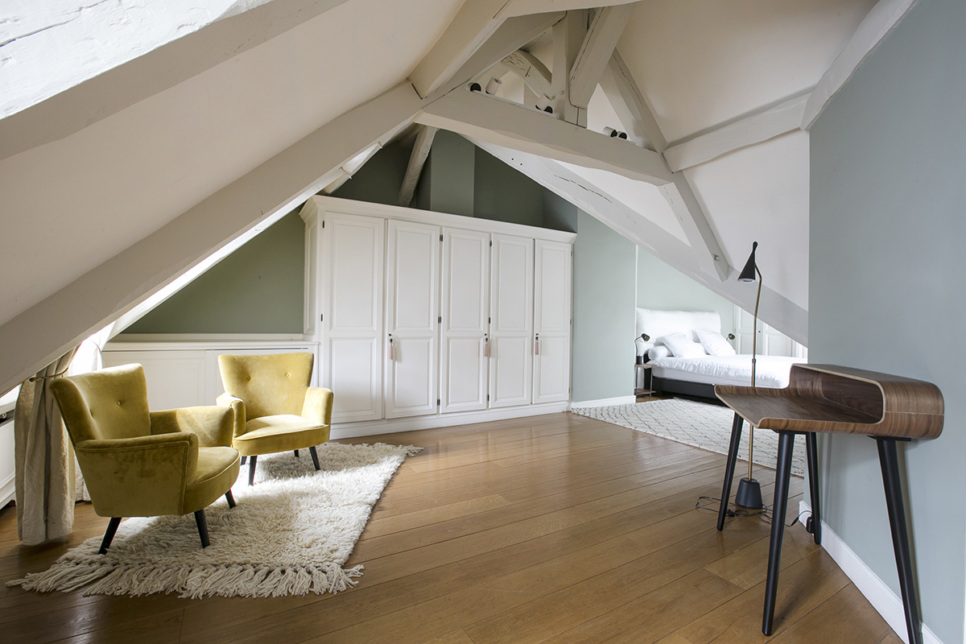 Two-bedrooms apartment in Paris Bedroom with sloping roof