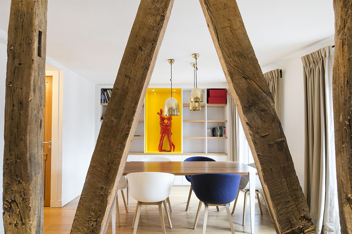 partition apartment beams Paris