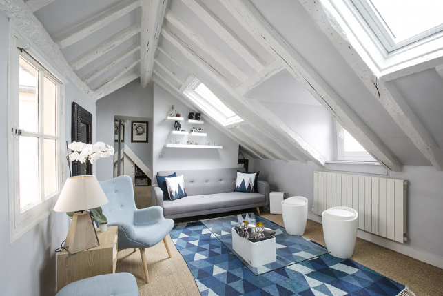 furnished rental Paris apartment whit wooden beams