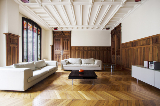 Paris furnished apartment like a château french ceiling wood panelling fireplace