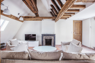 furnished apartment fireplace beneath the eaves Paris