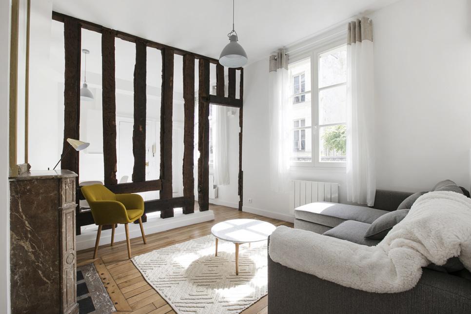 bright living furnished rental Paris
