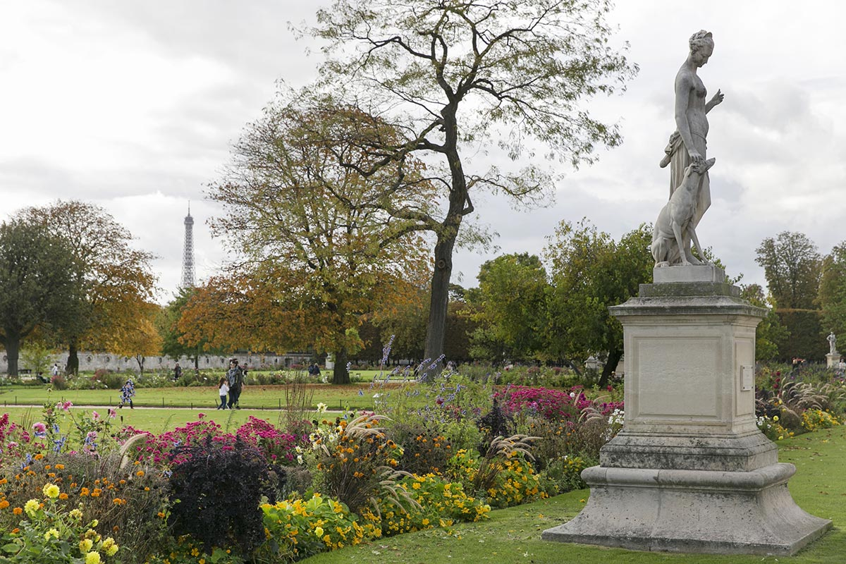 tuileries gardens public park french-style garden in Paris classical sculptures