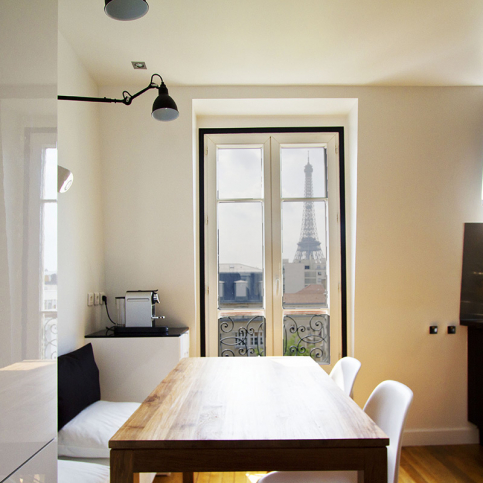 kitchen Paris one-bedroom apartment with view Eiffel tower