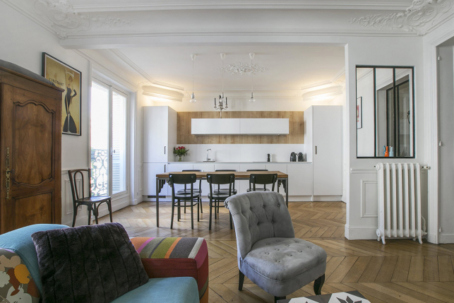 two-bedroom apartment furnished rental Paris open kitchen