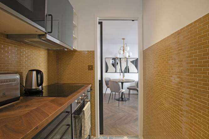 The kitchen near the living room of the furnished apartment