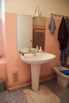 The old bathroom with pink tiles