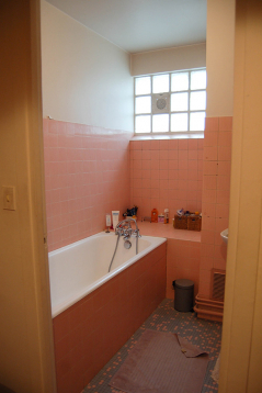 The spacious bathroom before the renovation