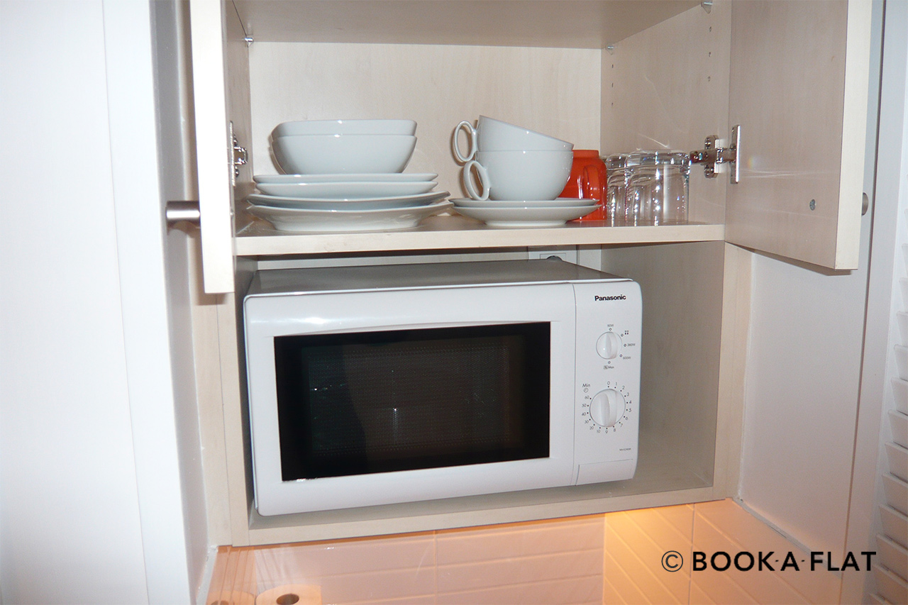 Kitchen equipped with microwave